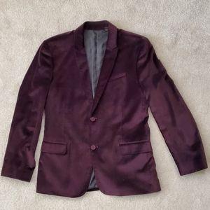 Men's Guess Velvet Blazer Jacket Maroon XL